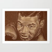 mike tyson Art Prints featuring round 7...mike tyson by noblackcolor