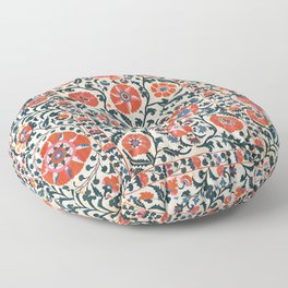 Shakhrisyabz Suzani  Uzbekistan Antique Floral Embroidery Print Floor Pillow