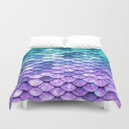 Mermaid Ombre Sparkle Teal Blue Purple Duvet Cover
