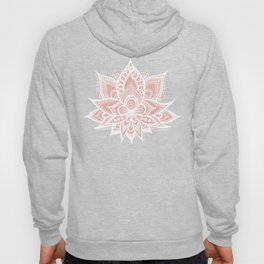 White Lotus Flower on Rose Gold Hoody