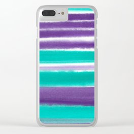 Teal and Purple Watercolor Stripes Clear iPhone Case