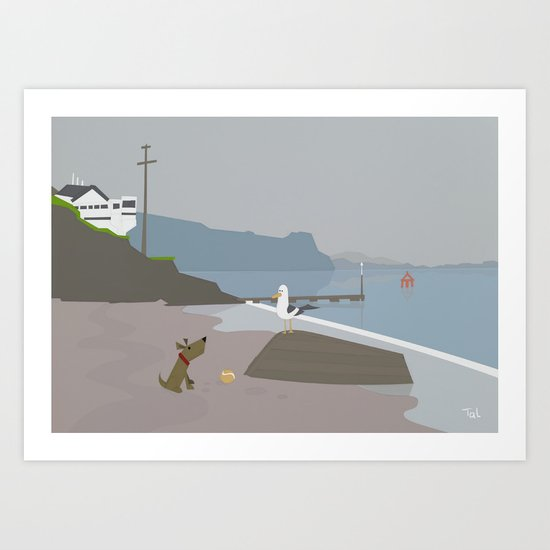 Dog and Bird and Boat Beach Wall Art, Beach Art Nursery Decor, Nursery Wall Art for Boys Room Art Print