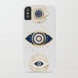 evil eye times 3 navy on white iPhone Case