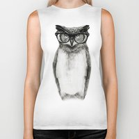 clock Biker Tanks featuring Mr. Owl by Isaiah K. Stephens