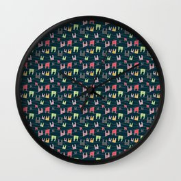 Colorful bunnies on navy background Wall Clock