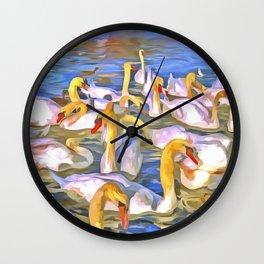 Swans Pop Art Wall Clock