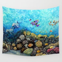 Take Me There - seascape with dolphins Wall Tapestry