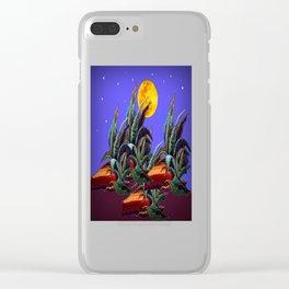 Desert Agaves Full Moon Purple Evening Landscape Clear iPhone Case