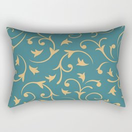 Baroque Design – Gold on Teal Rectangular Pillow