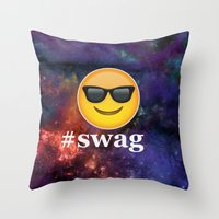 swag Throw Pillows featuring #Swag by pbstudios