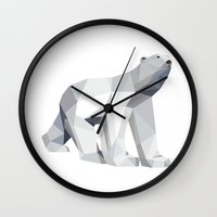 polar bear Wall Clocks featuring Polar bear by Marta Olga Klara