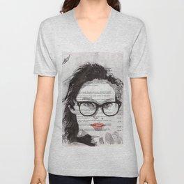 Honey - Portrait ink drawing Unisex V-Neck