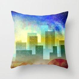 Colorful night digital illustration II. Throw Pillow