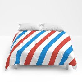 Barber shop stripes (red white blue) Comforters