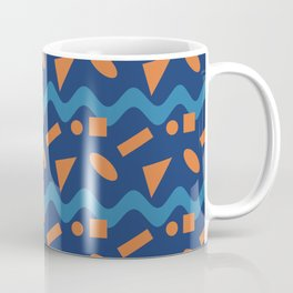 Orange Geometry On A Blue Wave  Coffee Mug