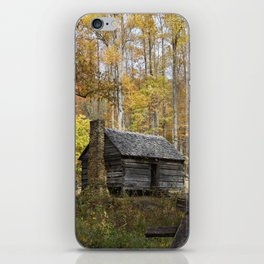 Smoky Mountain Rural Rustic Cabin Autumn View iPhone Skin