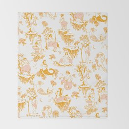 Astrology-Inspired Zodiac Gold Toile Pattern Throw Blanket