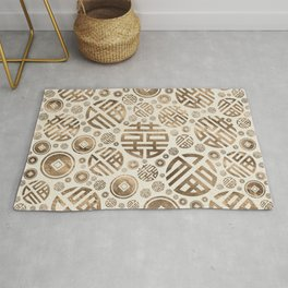 Double Happiness and Chinese coins pattern #2 Rug