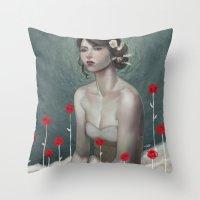 laura palmer Throw Pillows featuring Laura by Lek Chan