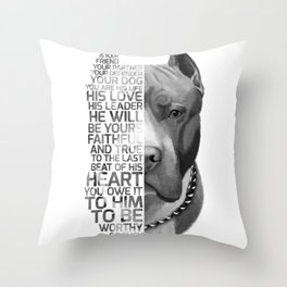 Pit Bull Print, Pit Bull Quote, Pit Bull Gift, Text Dog Portrait, Dog Art, Dog Quotes Print, Text Do Throw Pillow
