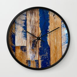 Reclaimed Wood in Seaside Blue and Weathered Tan Wall Clock