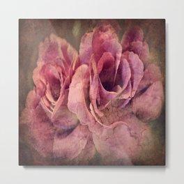 Vintage Roses - Deep Pink Metal Print