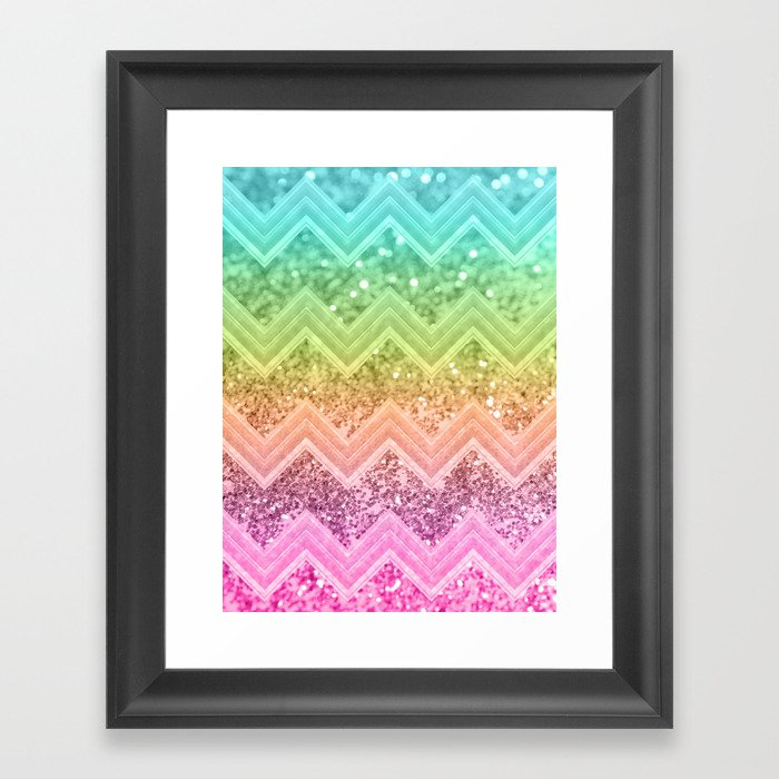 b8062adfb8d1 Rainbow Glitter Chevron #1 #shiny #decor #art #society6 Framed Art Print by  anitabellajantz | Society6