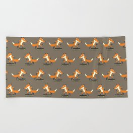 Skateboarding fox Beach Towel