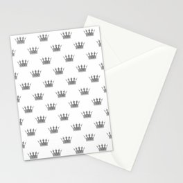 Wedding White Silver Crowns Stationery Cards