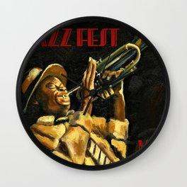 Vintage New Orleans Jazz Festival Advertising Wall Art Wall Clock