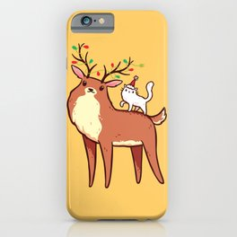 Reindeer and Kitten iPhone Case