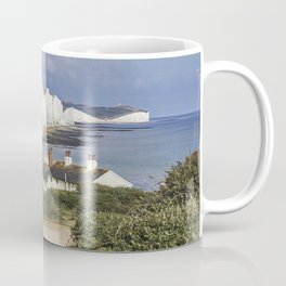 Seven Sisters country park tall white chalk cliffs, East Sussex, UK Coffee Mug