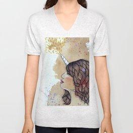 unicorn girl Unisex V-Neck