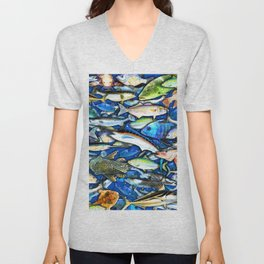 DEEP SALTWATER FISHING COLLAGE Unisex V-Neck