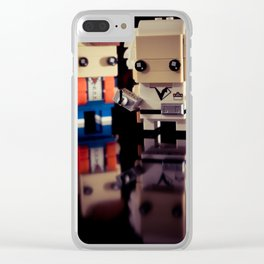 """""""Doc, where the heck is the delorean?!"""" Clear iPhone Case"""