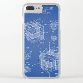 Rubik's cube blue Clear iPhone Case