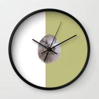 hedgehog Wall Clocks featuring Hedgehog by Elena Naylor