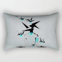 Origami's dream - A collaboration between Christelle Guilhen and Gwenola de Muralt - Rectangular Pillow