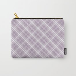 Dark Chalky Pastel Purple and White Tartan Plaid Check Carry-All Pouch