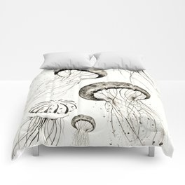 jelly fishes black and white Comforters