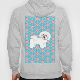 Bichon Frise snowflakes christmas holiday themed pattern print pet friendly dog breed gifts Hoody