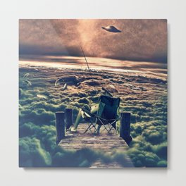 Fishing Above the Clouds Metal Print
