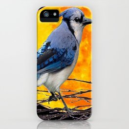 BLUE JAY & GOLDEN MOON LIGHT ABSTRACT iPhone Case