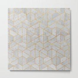 Concrete Hexagonal Pattern Metal Print