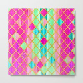 Moroccan Tile Pattern In Neon Pink And Green Metal Print