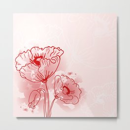 background of flowers poppies  Metal Print