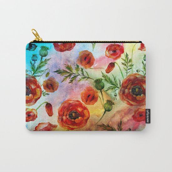 Poppy LOVE pattern- Poppies and Flowers on colorful watercolor background  on #Society6 Carry-All Pouch