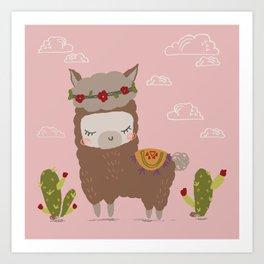 Alpaca Girls Baby Room Art Art Print