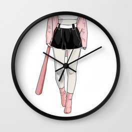 girl with bat Wall Clock