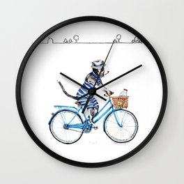 Cat on a Blue Bicycle Wall Clock